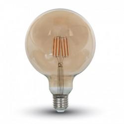 Bombilla LED filamento E27 G125 6W AMBAR con 5 años de garantía