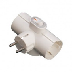 Adaptador triple sucko con interruptor