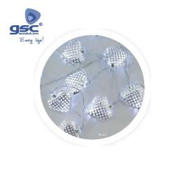 Corazones de LED Plateados
