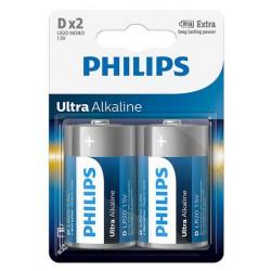 PHILIPS ULTRA ALKALINE PILA D LR20 BLISTER*2