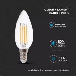 Bombilla LED 4W E14 Vela filamento