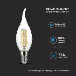 Bombilla LED 4W E14 Vela llama filamento Retorneada