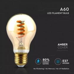 Bombilla LED 4W E27 A60 filamento espiral ambar