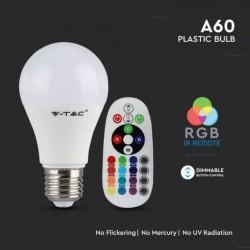 Bombilla LED esférica 6W A60 RGB con mando a distancia