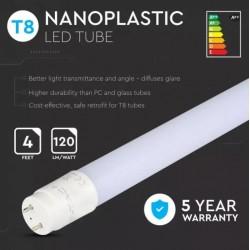 Tubo LED T8 18W 120cm 120Lm/W con 5 años de garantía